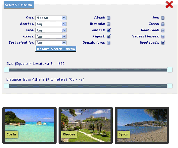 How to use the Greece Vacation Search engine